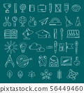 Set of school supplies sketch handdrawn lines icons. 56449460