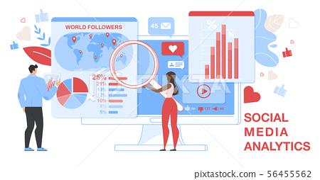 Social Media Analytics Horizontal Banner. Analytic 56455562