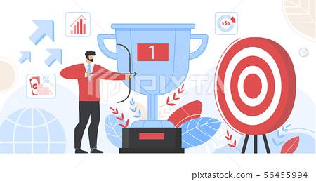 Businessman Hold Bow Aiming Arrow to Target Board 56455994
