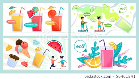 Summer Refreshing Food and Drinks Flat Banner Set 56461841