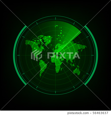 Radar screen with futuristic user interface and 56463637