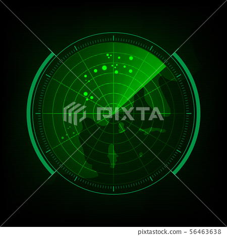 Radar screen with futuristic user interface and 56463638