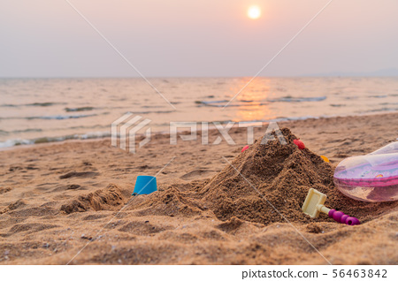 Sand and toys on the beach background. 56463842