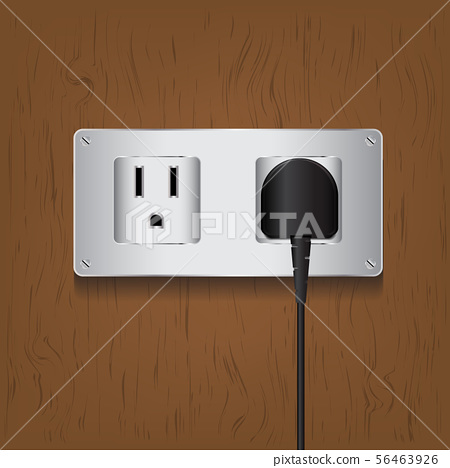 Vector electric plug and outlet on wood background 56463926