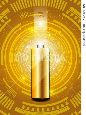 Electric battery energy, illustration, Gold light 56464109
