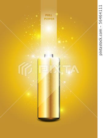 Electric battery energy, illustration, Gold light 56464111