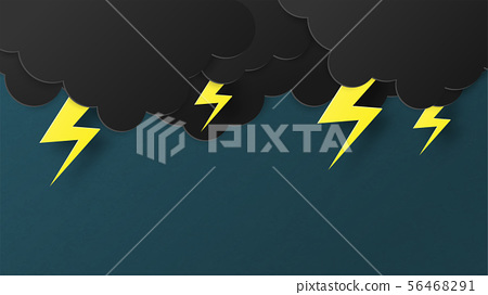 Lightning and thunderbolt with a black cloud 56468291