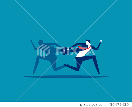 Businessman and shadow running different way. 56475439