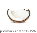 Half Coconut isolated on white background 56493597