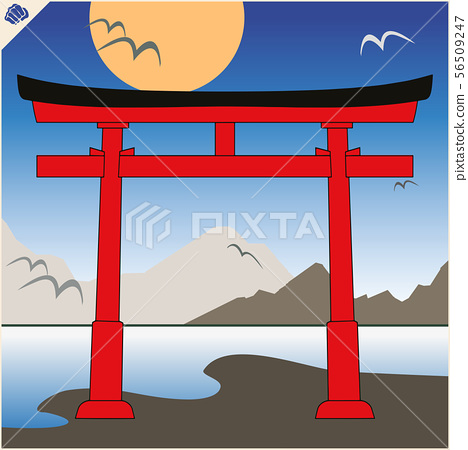 Japan traditional gate torii , sky and mountaine. Vector. EPS 56509247