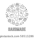 Handmade round logo design with taylor sewing linear icons isolated on white background 56513286