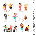 People performing music. Musicians with musical instruments. Vector cartoon characters isolated 56513564