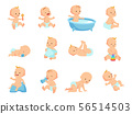 Infant newborn baby big set in different activity isolated on white 56514503