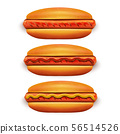 Hot Dog with Ketchup and Mustard in Realistic Style 56514526