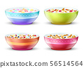 Bowls of breakfast with different milk cereal snacks. Vector set 56514564
