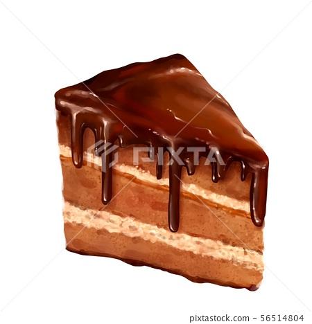 Piece of layered chocolate cake isolated on white background 56514804