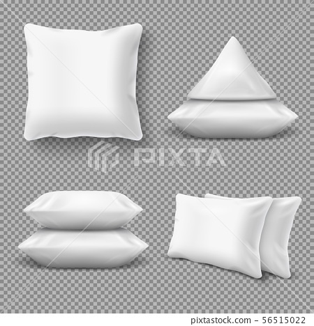 Realistic white comfortable pillows, home cushions with natural feather. Isolated vector mockup for 56515022