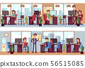 Business employees, coworkers in modern office interior vector illustration 56515085