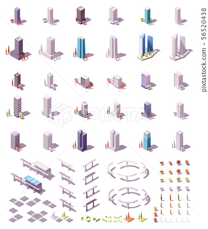 Vector isometric city buildings set 56520438