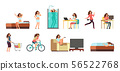 Smiling happy woman in everyday life. Active girl normal daily routine vector cartoon lifestyle 56522768