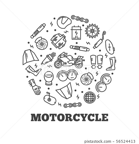 Line icons moto parts motorcycle 56524413