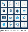 Isolated music players icons in two color shape 56530787