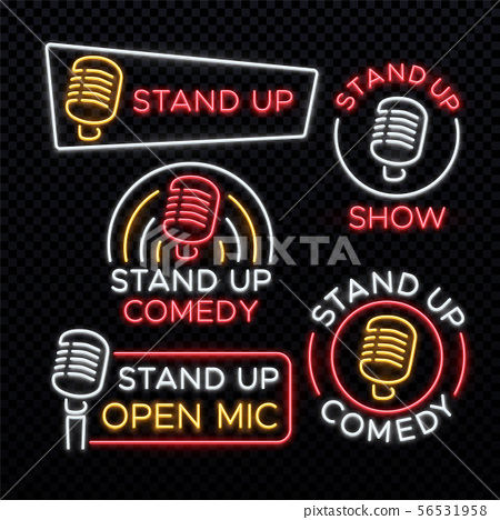 Stand Up comedy bright neon vector signs 56531958