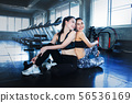 Asian women happy workout at gym 56536169