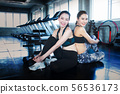 Asian women happy workout at gym 56536173