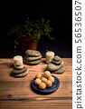 composition of candles, stones and wooden spa 56536507