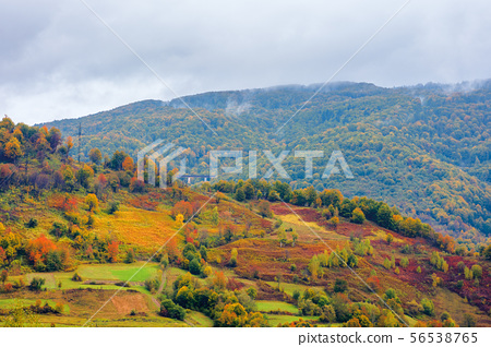 beautiful countryside on a rainy day in mountains 56538765