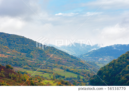 beautiful countryside on a rainy day in mountains 56538770
