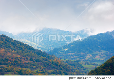 beautiful countryside on a rainy day in mountains 56538772