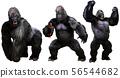 Giant monstrous gorilla 3D illustration 56544682