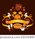 Thanksgiving holiday banner with traditional turkey and fruit pie, pumpkin, apples and mushroom 56545885