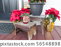 Christmas Decorations At Front Porch Door of House 56548898