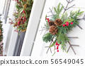 Christmas Decorations At Front Door of House 56549045