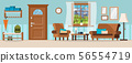 Cozy hallway with furniture, closed door, window view of summer mountain landscape. 56554719