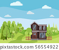 Summer or spring background landscape with two-storied house with fences, green trees, spruces 56554922