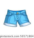 cartoon denim shorts on white 56571864