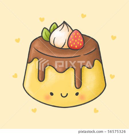 Cute pudding with strawberry whip cream dessert 56575326