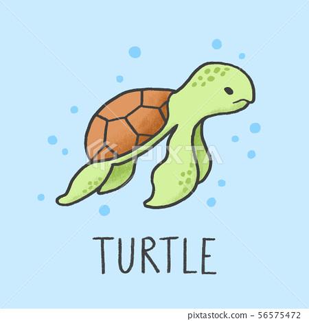 Cute Turtle cartoon hand drawn style 56575472
