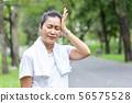 asian senior woman with Headache 56575528