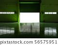 Metal factory door and green floor. 56575951