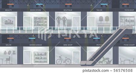 Shopping mall with modern retail store with many 56576508