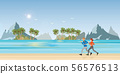 Couple running on beachl andscape background. 56576513