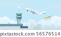 Control tower with Airplane taking off from the 56576514