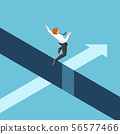 Isometric businessman jumping over the gap between 56577466