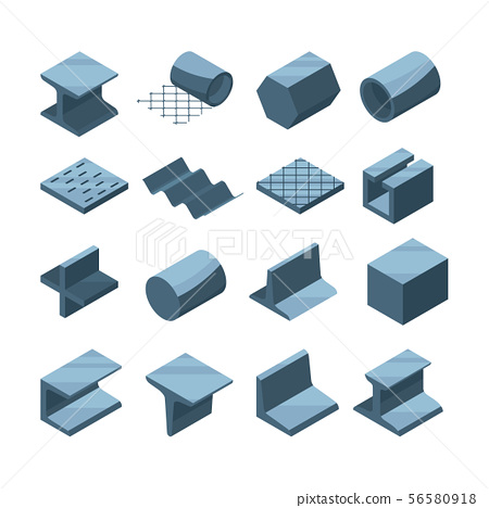 Industrial icons set of metallurgic production. Isometric pictures of steel or iron pipes 56580918