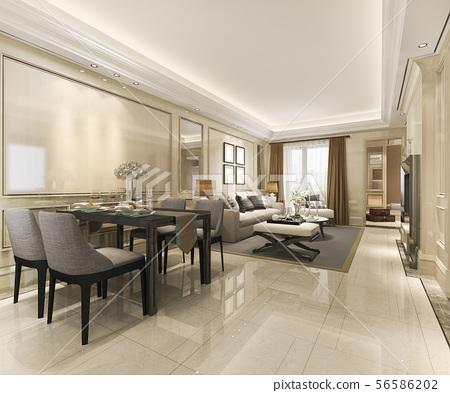 dining room and living room with luxury decor 56586202